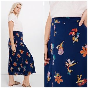 NEW Madewell Plus silk floral midi skirt